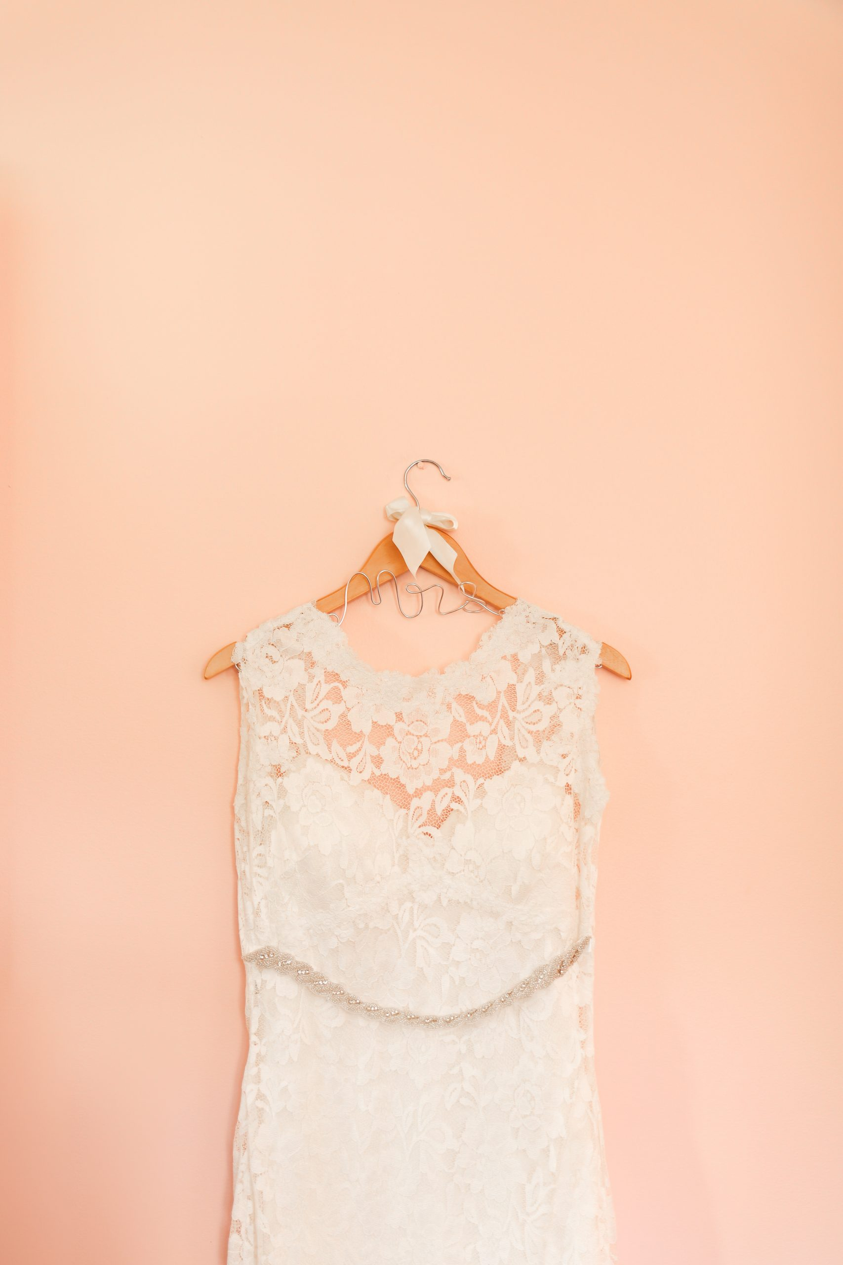 peach pink lace wedding dress belted